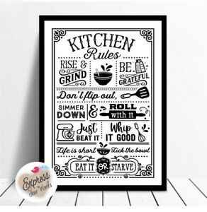 Kitchen Rules Poster Print, Word Art Quotes, Wall Decoration, Frame yourself