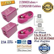 2 Pack 2-USB Port PINK Cube 2.1A + USB Cable for iPhone SE,7,8,X,XR,XS [P2-2PNK