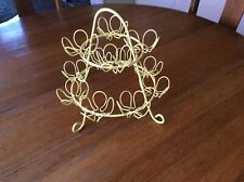 Yellow Shabby Chic 2 Tier Metal Wire Cupcake Stand