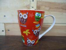 Porcelain Mug - Owl Animal Bird Design Red - Comes with Box