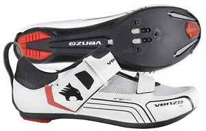 Venzo Cycling Bicycle Triathlon Road Bike Shoes For Shimano SPD SL Look White