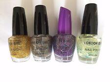 London Girl Glittery 1 Nail Polish 18ml  (Gold, Black,Purple,Clear)