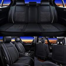 UK 7Pcs Black 5 Seat Cover Leather Car Front + Rear Cushion Pad +Headrest Pillow