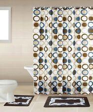 Sami Brown & Blue 18-Piece Bathroom Accessory Set 2 Bath Mats Shower Curtain