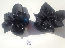 Beautiful Big Oversized Diamond Bling Bow Sliders Black Size 3,4,5,6,7UK