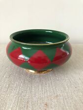 Harlequin Green Red Diamond Geometric Ceramic Pot Planter Vase Christmas Decor