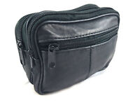 New Real Leather Double Zip Holder With Front Pouch Taxi Bag Hand Pouch 2083
