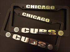 SET X 2 Chicago Cubs Black Plastic License Plate Frames Truck Car Van