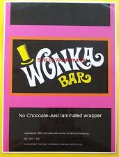 LAMINATED: 7 oz. sized Willy Wonka chocolate bar WRAPPER-GOLDEN TICKET SOLD SEP.