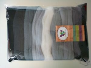 Grey set* Pure Merino Wool for Needle and Wet Felting packs of 30 60 or 90 g
