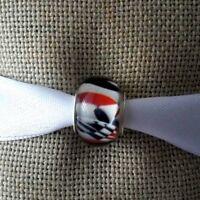 White Black Red Murano Glass Bead For European Charm Silver Bracelet