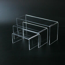 3x Clear Acrylic Display Riser Stand Set Toy Model Showcase Shelf 3 Size Home