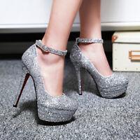 Elissarar Womens Stiletto High Heel Platform Ankle Strap Pumps Shoes UK Size 1-8