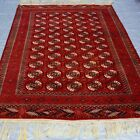 """ANTIQUE TURKOMAN TEKE HAND KNOTTED 100% WOOL ORIENTAL RUG CLEANED 7'3"""" x 10'"""