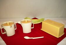 Tupperware GOLD ALMOND ~1 Pound Butter Saver ~Cream Creamer ~Sugar Bowl ~Spoon