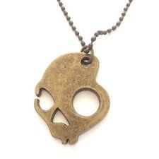 NWOT Skullcandy Brass Metal Skull Necklace Snowboarding Jewelry Army Chain