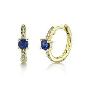 Diamond Blue Sapphire Huggie Earrings 14K Yellow Gold Hoop 0.39TCW Natural Round