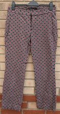 ZARA BROWN BLUE BAROQUE ABSTRACT TAILORED FORMAL WORK TROUSERS PANTS M