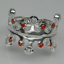 INVITING! ORANGE SAPPHIRE & WHITE SAPPHIRE 925 SILVER CROWN RING SIZE 5.75