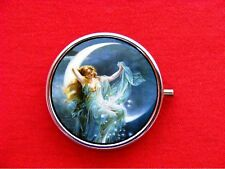 MOON GODDESS FAIRY PIN UP STARS VINTAGE ROUND METAL PILL MINT BOX CASE