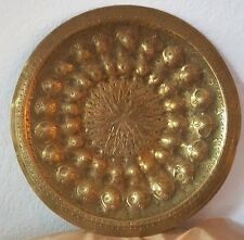 "Persian antique brass plate hand engraved 11.5"" wide"
