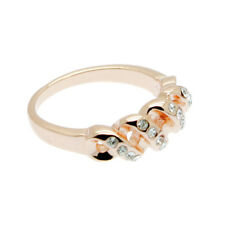 Rose Gold Ring Size Q  18ct Rose Gold Vermeil Band with Crystals
