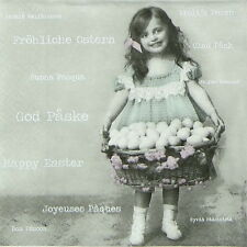 Papel 4x Servilletas Para Decoupage Sagen Vintage Pascua Chica Con Huevo