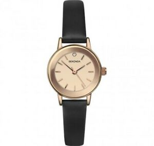 Sekonda Ladies 22mm Petite Rose Gold Watch With Brown Leather Band SK2786