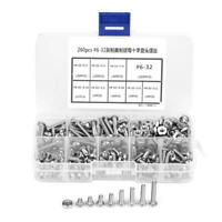 260Pcs #6-32 Stainless Steel Cross Pan Head Machine Screws Nuts Assortment Kit