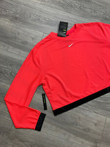 Nike Pro Womens L Long Sleeve Mesh Crop Top L Laser Crimson Athletic CJ4175 644