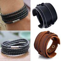 Men Handmade Multilayer Weave Leather Punk Bracelet Bangle Wristband Jewelry New