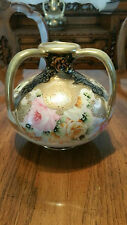 "Fabulous Hand Painted 3 Handled Vase ""Roses"" Signed Gold Trim"