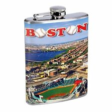 Boston, Fenway Park, Red Sox Flask D146 8oz Stainless Baseball The Green Giant