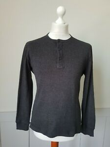 Mens Roots Grey Long Sleeve Henley Top in 100% Cotton USA -Small - TS04