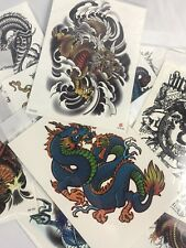 10 Pack of Mixed Colored Chinese Dragon Set & Phoenix Temporary Tattoo Stickers