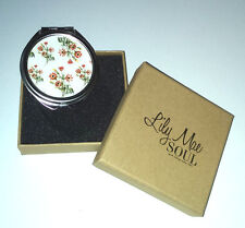 ROUND HAND MIRROR COMPACT Magnifying + Normal VINTAGE DAISY Soul UK BOXED GIFT