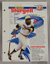 WILLIE STARGELL PIRATES SPORTS HEROES BOOKLET SHEET CARD #73  9876A8