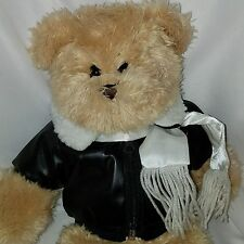 The Bear Mill Teddy Bear Plush Stuffed Animal Pilot Bomber Jacket Scarf 15""