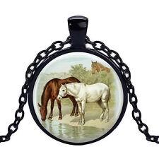 Wholesale Cabochon Glass Black  Chain Pendant Necklace ,Horse  /102
