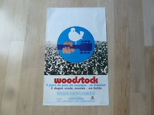 Small French Woodstock Festival Poster for the Movie Logo over Crowd FUN