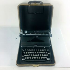 Vintage Royal Quite De Luxe Portable Manual Brown Touch Control Typewriter Case