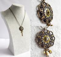 VINTAGE STYLE PENDANT NECKLACE Bronze Tone Diamante Detail Dual Chain Jewellery