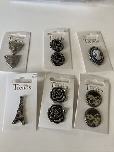 Lot 6 Cards 10 buttons total Sewing Nest Eiffel Flowers Cameo Lace Leopard Face