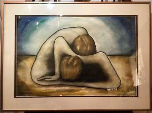 Macossay Signed Abstract Pastel Painting of Two bodies Entwined c.1975