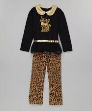 YOUNG HEARTS Black Leopard Cat Appliqué Tunic & Leggings  SIZE 4T