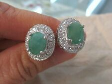 "NEW - 925 Sterling Silver GENUINE Oval Green ""Emerald"" & Cz HALO Studs Earrings"