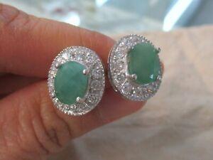 "NEW - 925 Sterling Silver GENUINE Oval Green ""Emerald"" & Cz HALO Studs Earrings"