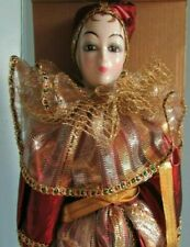 """Fine porcelain 16"""" camelot Handcrafted """"Pyrena"""" Burgandy Clown doll w/box"""