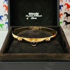 NEW HERMES 18K YELLOW GOLD SH SMALL BRACELET COLLIER DE CHIEN CDC KELLY JEWELRY