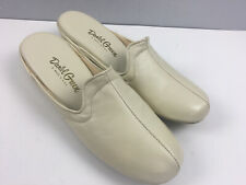 Vtg Daniel Green Leather Slippers House Shoes 10 B Made in Usa Ivory Open Back